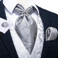 New Design Silver Floral Paisley Men Silk Cravat Ascot Tie Handkerchief Set Wedding Formal Necktie Scrunch British Style DiBanGu