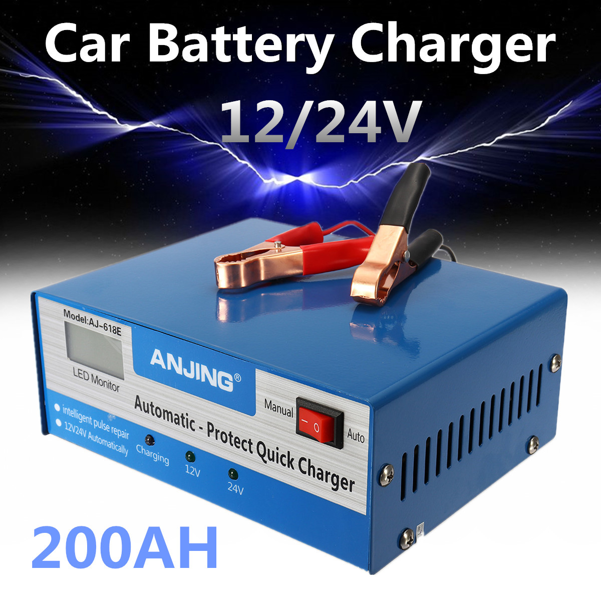 Car Battery Charger Intelligent Pulse Repair Full Automatic Protect Quick Chargers 130V-250V 200AH 12/24V With Adapter