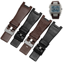 Fashion Litchi Genuine Leather Watch Band Straps Black Dark brown Watch Band Replacement Strap for Men Watch Accessories 32mm недорого
