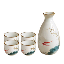 Japanese Sake Set With Four Mugs Traditional Ceramic Crafts Wine Pot Mugs Home Decoration Kitchen Accessories set mugs lefard 350 ml 7 items with stand