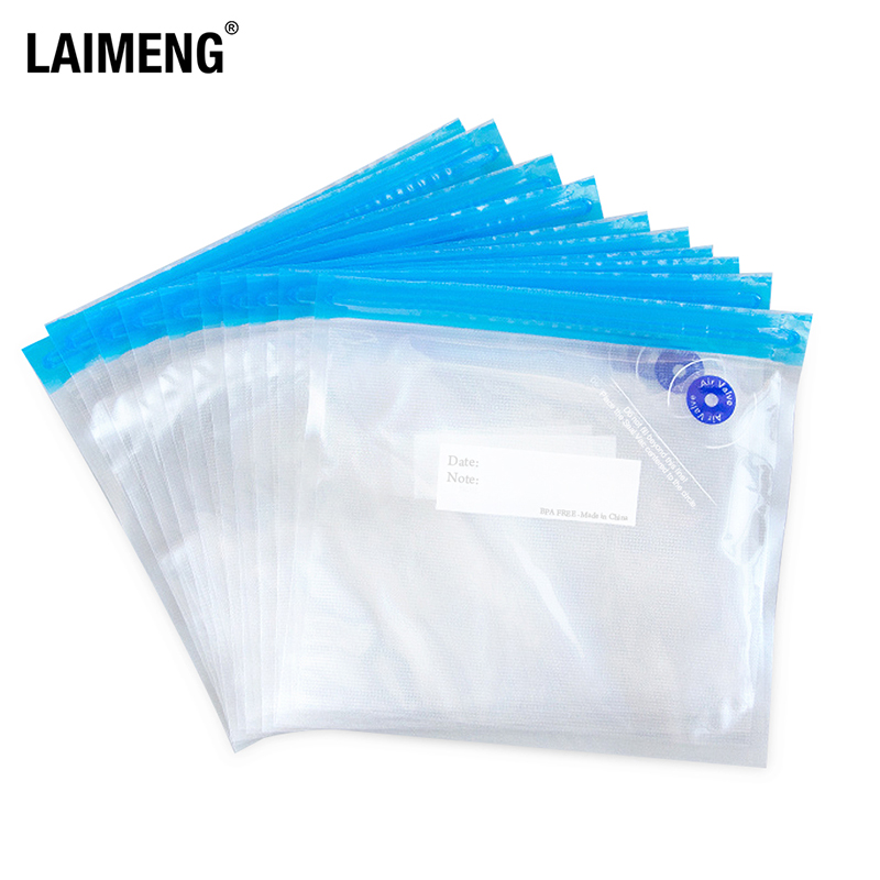 LAIMENG Reusable Vacuum Zipper Bags For Food Storage BPA Free Film Air Valve Bags Kitchen Appliance Sous Vide Packing Bags P275