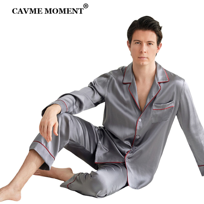 CAVME 100% Silk Sleepwear For Men Luxury Pajama Sets Father Homewear Full Pants 2 Pieces Homeclothes PLUS SIZE