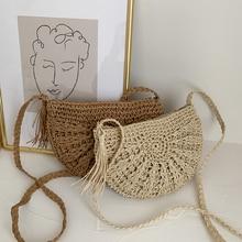 Half Round Straw Bags for Women Summer Beach Holiday Rattan Bag Handmade Woven Half Moon Crossbody Handbags Bohemia