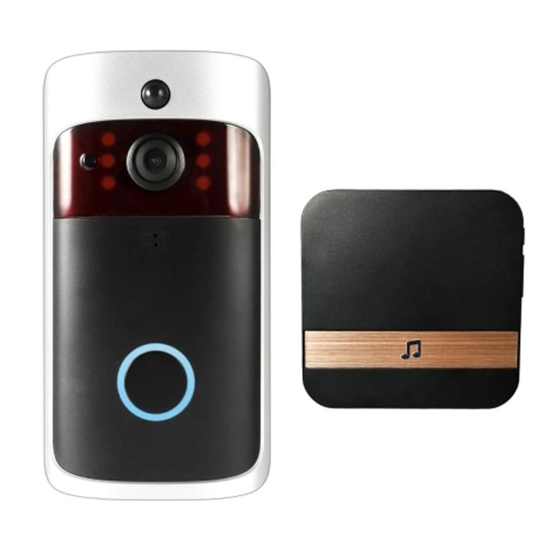 Smart Wireless Wifi Security Doorbell Video Door Phone With Plug-In Chime Visual Recording Low Power Consumption/ Remote Home Mo