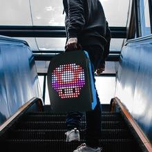 스마트 LED 배낭 와이파이 APP 제어 led 디스플레이 화면 배낭 방수 야외 자전거 산책 광고 배낭 LED