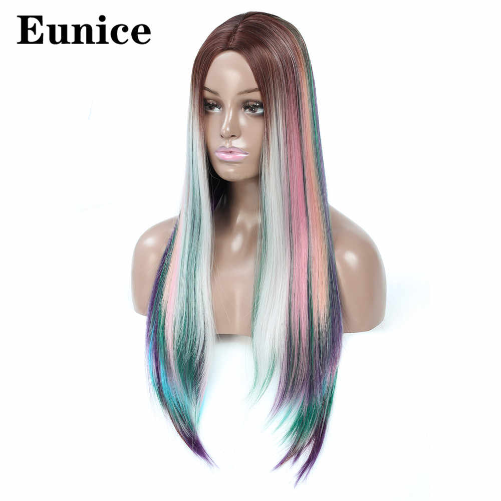 Long Hand-woven Synthetic Wigs 24inch Eunice Hair Straight Wig for Women Middle Part Ombre Rainbow High Temperature Fiber Hair