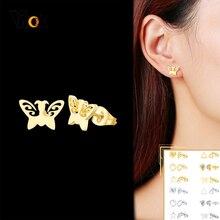 Stud-Earrings Ear-Gifts-Accessory Stainless-Steel Heart-Stars Metal Butterfly Designs
