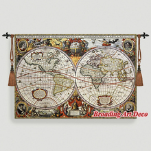 Antique World Map Medieval Tapestry Wall Hanging Jacquard Weave Gobelin Cotton 100 Aubusson Large Home Textile