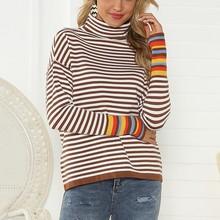 womens sweaters loose sweater Women Turtleneck Pullover long Sleeve Stripe Patchwork Knitted Sweater Tops Y828 недорого