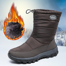 Winter Boots 2020 Women Winter Shoes Mid-Calf Snow Boots Wedges Warm Fur Female Boots Shoes Woman Footwear Large Size 43