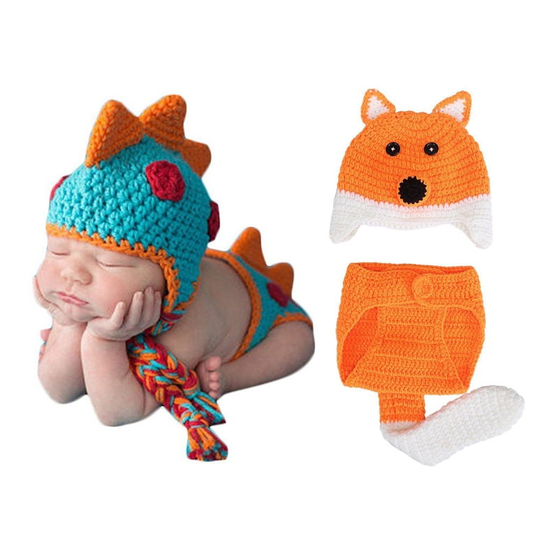 2 Set Baby Crochet Knitted Photo Photography Props Handmade Baby Hat Diaper Outfit For 0-6 Months Baby - Fox & Dinosaur