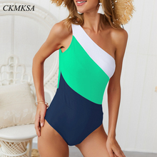 2019 Sexy One Piece Swimsuit Multiple colors Gradient Patchwork shoulder Swimwear Monokini Vintage Bathing Suit Summer women