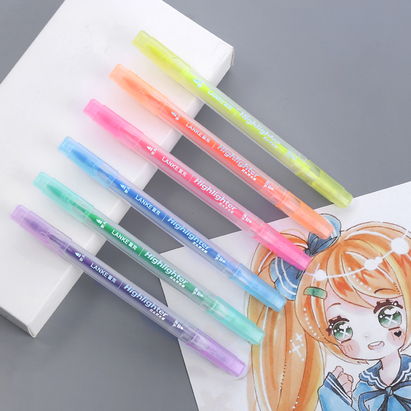 CHENYU 6pcs/set  Highlighter Pen Stationery Brush Markers Double Headed Fluorescent Marker Pen 6Colors Kawaii Office Supplies