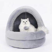 Милый зимний домик для кошек с забавным шариком дизайнерская