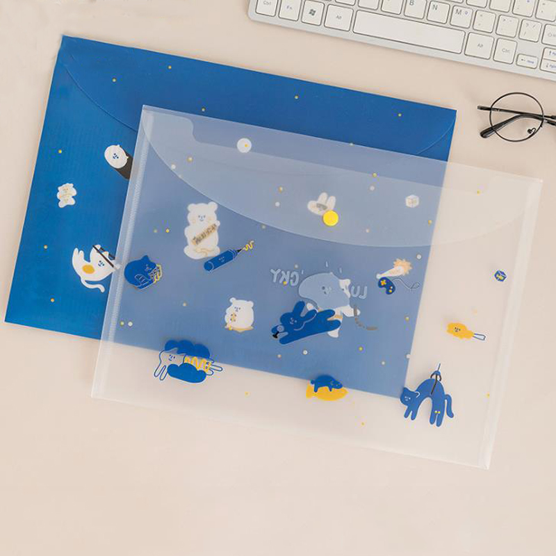 1 Pcs Kawaii A4 Animal Bear Cloud Sky Transparent PVC Document Bags File Folder Receipt Bills Bag Stationery Organizer Gifts