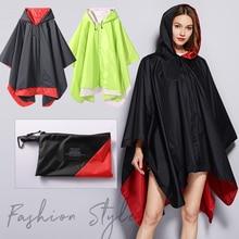 Women stylish Rain Poncho Waterproof raincoat cloak two layers could wear both sides outdoors