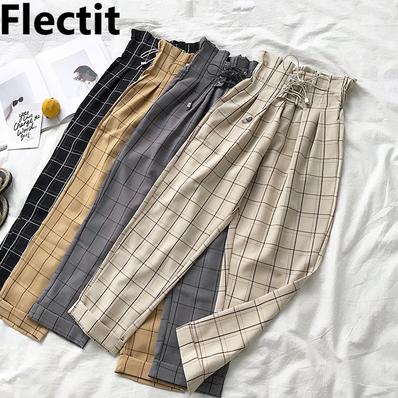 Flectit Women's Plaid Pants Lace Up With Pocket Paperbag High Waist Ankle Pants Spring Summer Female Trousers *