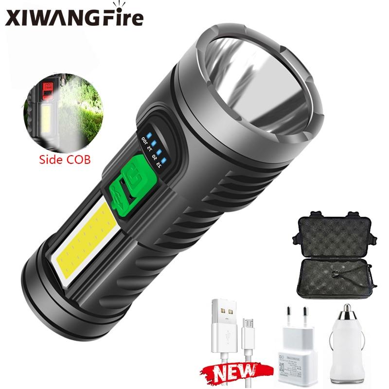 Мощный перезаряжаемый USB фонарик OSL + COB, фонарь онарик со встроенным аккумулятором 18650, тактический Водонепроницаемый фонарик, 8000 лм