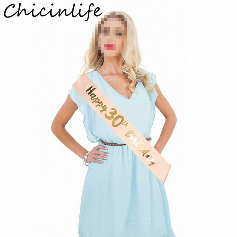 Chicinlife 1Pcs 16 18 21 <font><b>30</b></font> 40 50 60 Year Old Satin Sash Woman Birthday Party Girl Anniversary Adult 30th Birthday <font><b>Decor</b></font> Supplie image