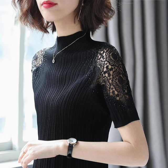 Women Spring Autumn Style Knitted Blouses Shirts Lady Casual Turtleneck Lace Decor Blusas Tops DD8043 5