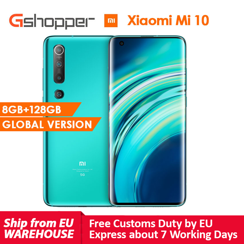 Versão global xiaomi mi 10 8 gb ram 128 gb rom telefone móvel 5g smartphone 108mp snapdragon 865 octa núcleo 6.67