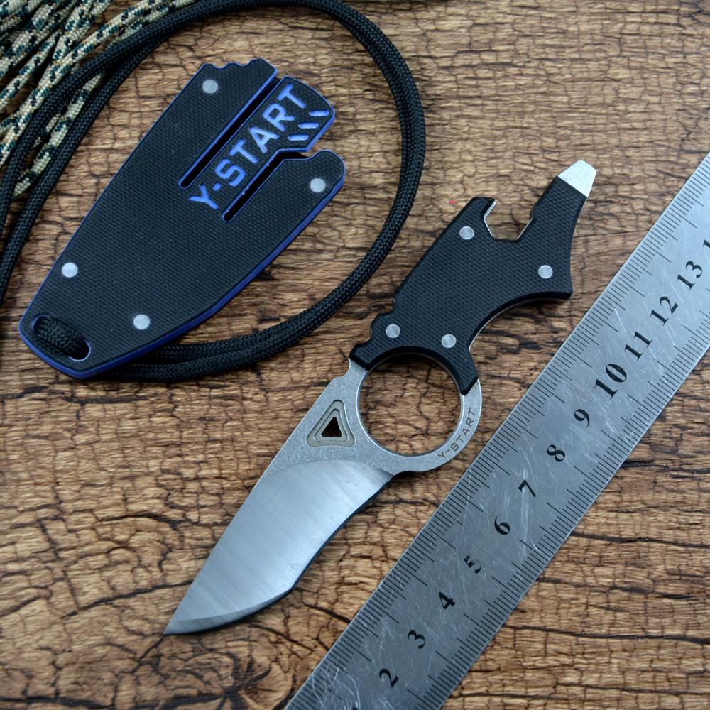Y-START MK5002 Multifunctional Neck Utility Knife for Outdoor Camping EDC Hunting  Fixed D2 Blade with G10 Case Multi-Tools