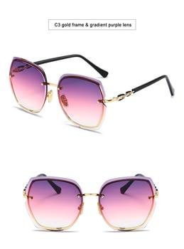 Fashion Oversized Sunglasses Women 2020 UV400 Designer Rimless Square Sun Glasses Woman Vintage  gafas de sol oculos With Box 12