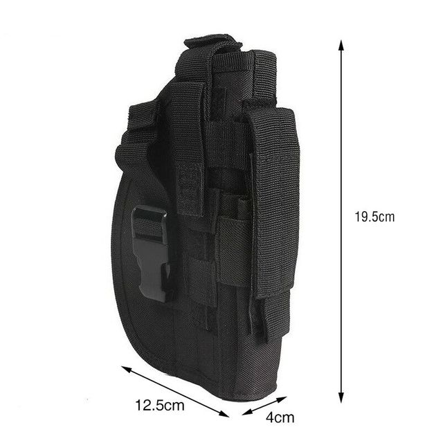 Tactical 600D Molle Gun Holster Military Rifle Bag for Right Hand Adjustable Handgun Holder with Mag Pouch Hunting Accessories 5