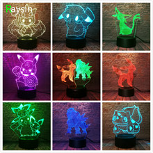 Amroe Japonês Jogo Pokemon Pokeball Pikachu Bulbasaur Squirtle Eeven 7 Cores Night Light Presentes Brinquedos Figuras de Ação de Toque Inteligente(China)