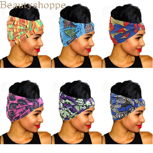 African Print Stretch Cotton Headband for Women Elastic Headwear Turban Head Scarf Ladies Bandage Head Wrap Hair Accessories(China)