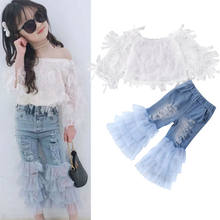 Kids Clothes Set 2020 New Summer Baby Set Girls Lace Off Shoulder Tops + Ruffle Denim Pants 2PCS Outfits(China)