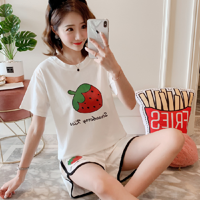 2020 Summer New Fashionable Pajama Sets For Women 2 Pcs Suits Short Sleeve&Pants Thin Cotton Comfortable Sleepwear For Girls