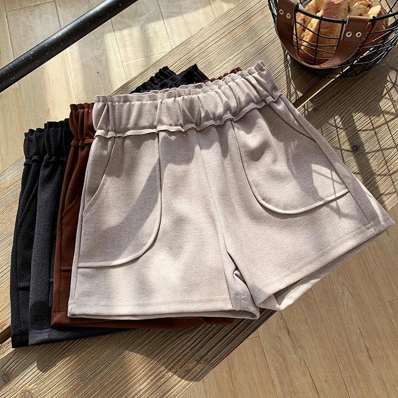 ผู้หญิงกางเกงขาสั้นฤดูใบไม้ร่วงฤดูหนาวสูงเอวกางเกงขาสั้นสบายๆหนาอุ่นเอวตรงกางเกงขาสั้น Booty กระเป๋า