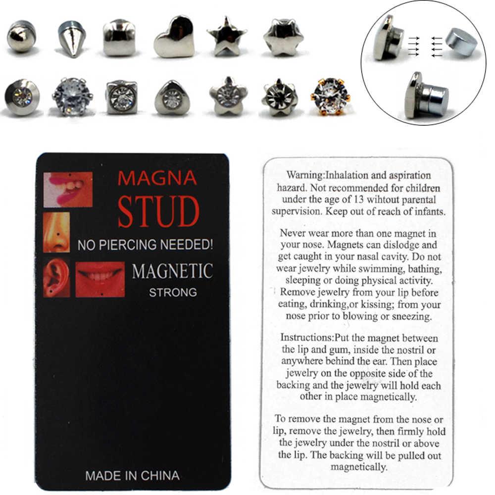 1PC Misturar Estilos Não Perfurou Ímã Plugs Túnel Orelha Lip Labret Piercing No Nariz Jóia Do Parafuso Prisioneiro Magnético Brinco Piercing Falso jóias