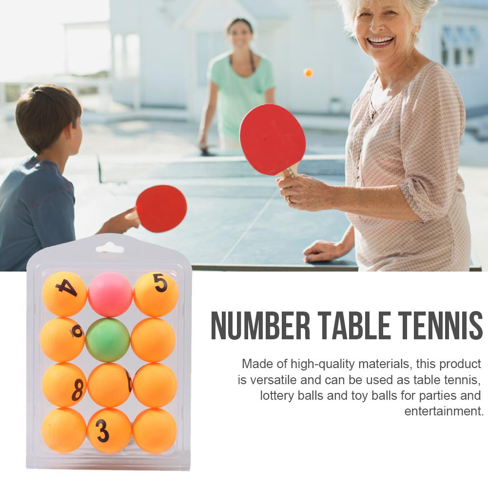 12PCS Color Number Table Tennis Professional Ping Pong Ball Numbered Beer Pong Raffle Ball For Table Tennis Training Games 40MM