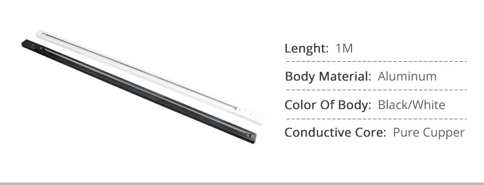 Track Rail 1m Track Light Fitting Aluminum 1 meter 2 wire Connector System Tracks Fixture black white Universal Rails 10pcslot (2)