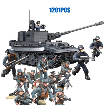 world war military Sd.Kfz.181 tank Panzerkampfwagen VI Ausf.E Tiger I mega block ww2 1:35 scale germany army figures bricks toys конструктор cobi small army world war ii 2519 танк tiger i 131