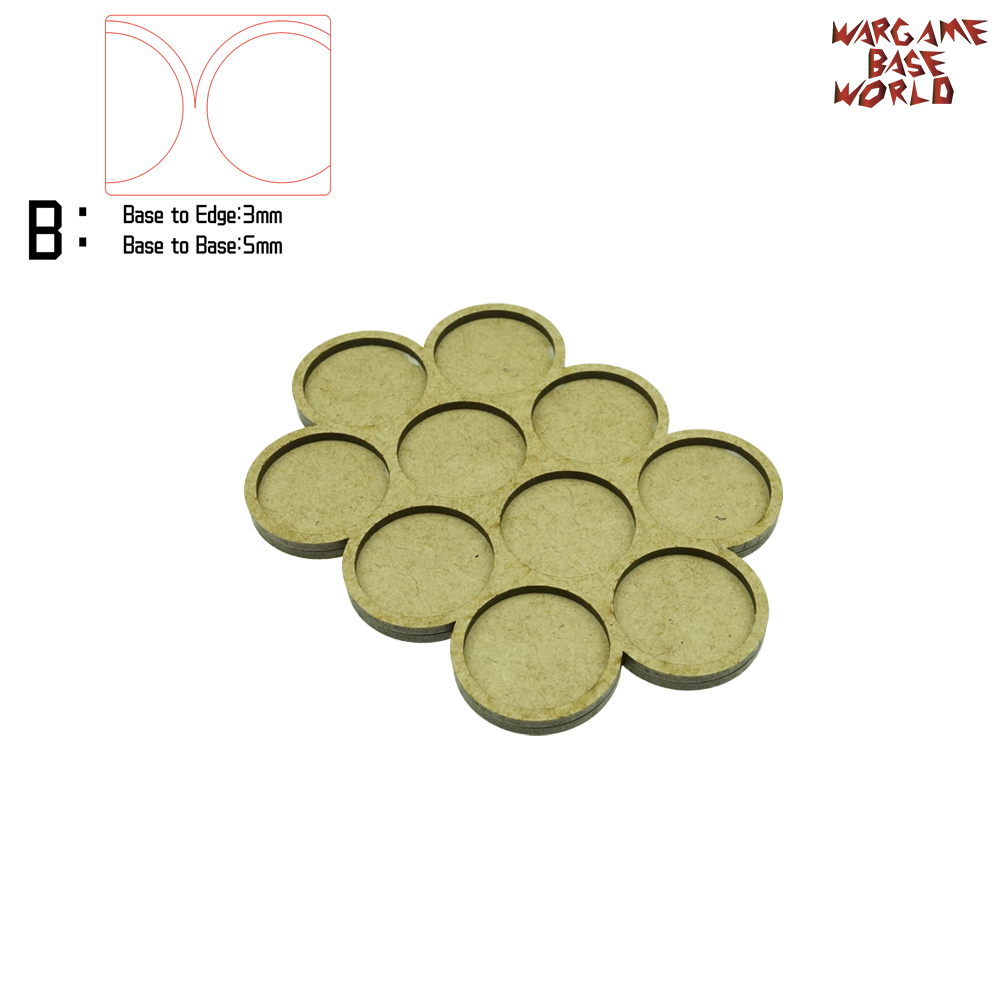 Wargame Base World - Movement Tray - 10 Bases 32mm Round -Triple Derangements Shape MDF