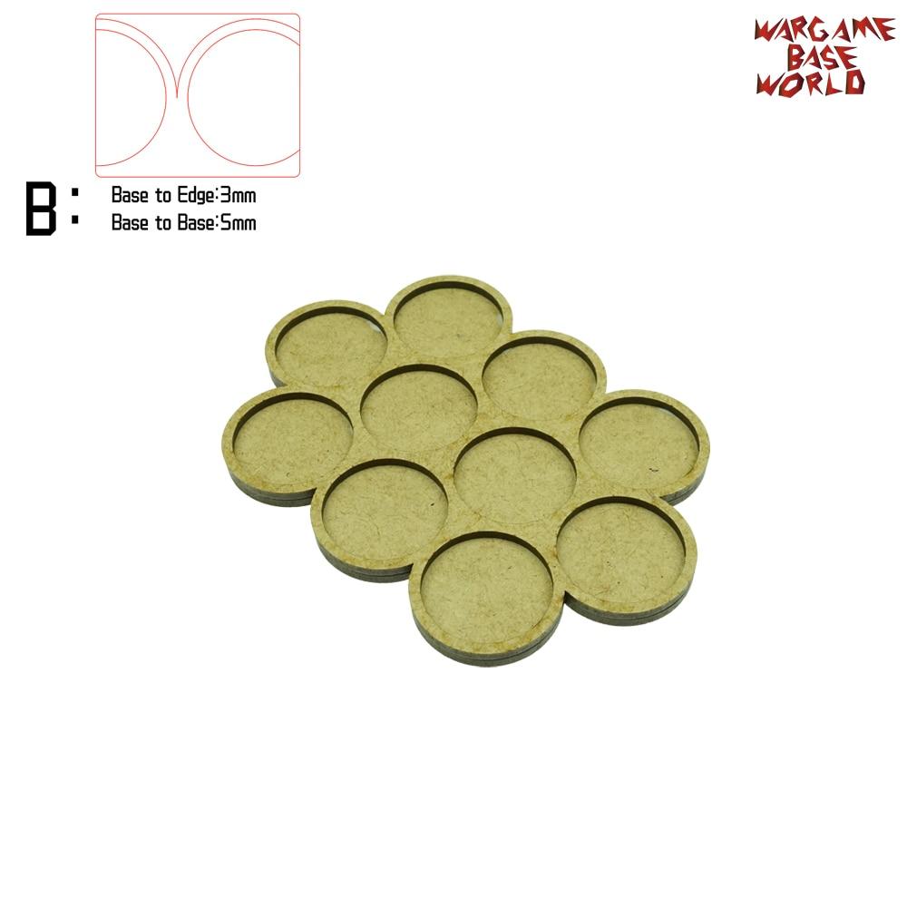 Wargame Base World - Movement Tray - 10 Bases 32mm Round -Triple Derangements Shape MDF