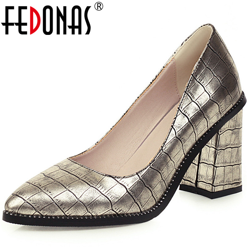 FEDONAS Fashion Top Quality Women Point Toe Pumps Square Heeled Office Lady Elegant Shoes Spring Summer New 2020 Shoes Woman