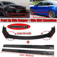 2m/2.2m Car Universal Side Skirt Extensions Splitters+Car Front Bumper Splitter Lip Diffser Protector For BMW For Benz For Mazad