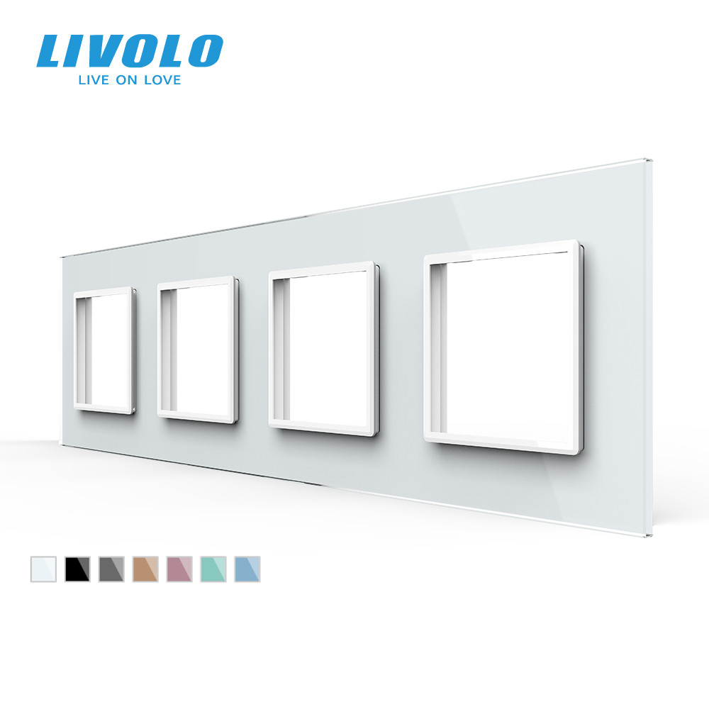 Livolo Luxury White Crystal Glass Switch Panel 294mm 80mm EU standardQuadruple Glass Panel For Wall Socket C7-4SR-11no logo