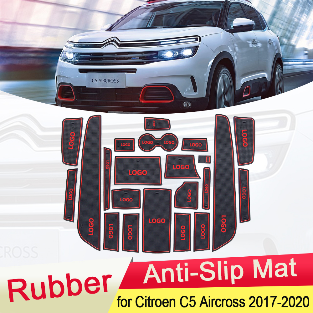 for Citroen C5 Aircross 2017 2018 2019 2020 Rubber Anti-slip Mat Door Groove Cup Phone Pad Gate Slot Car Stickers Accessories
