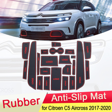 for Citroen C5 Aircross 2017 2018 2019 2020 Rubber Anti-slip Mat Door Groove Cup Phone Pad Gate Slot Car Stickers Accessories car gate slot mat for volkswagen vw tiguan 2010 2017 anti slip door pad rubber cup groove mat decor auto interior accessories