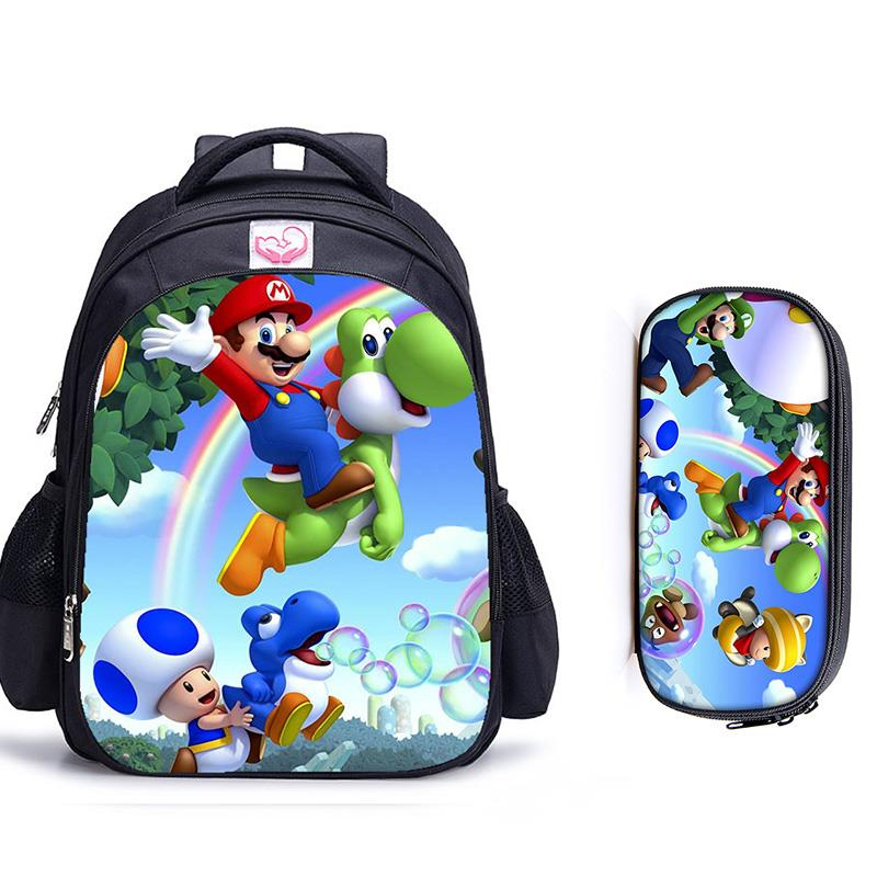 16 Inch Mario Bros Children School Bags Orthopedic Backpack Kids School Boys Girls Teenage Mochila Infantil Catoon Bags