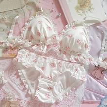 الملابس الداخلية مجموعة النساء Kawaii اليابانية طقم حمالة صدر وسراويل داخلية Wirefree لينة داخلية النوم العشير مجموعة لطيف لوليتا حمالة صدر ولباس داخلي مجموعة