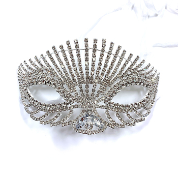 Luxury fashion female mask Noble and elegant temperament face jewelry accessories rhinestone crystal shiny girl masks