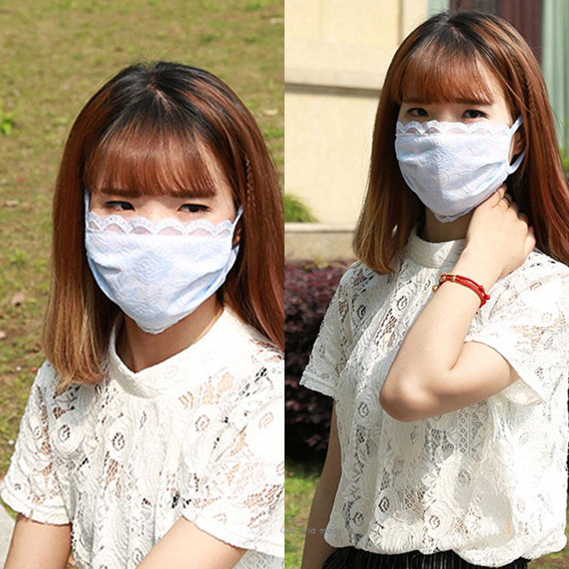 Spring Breathable Mouth Mask Women Lace Cotton Mask Cycling Anti-Dust Face Mask Reusable Women Face Masks Cover High Quality