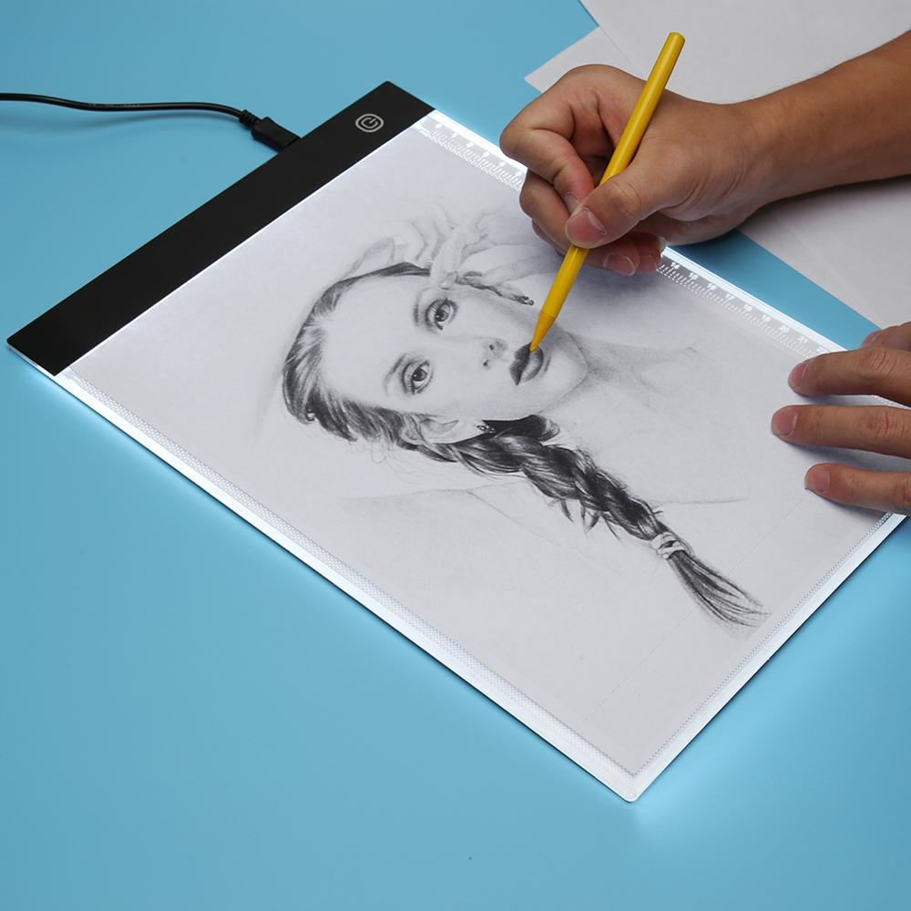 A4 светодиодный цифровой графический планшет для рисования планшета панель для отслеживания светящаяся трафаретная доска дисплей светодио...