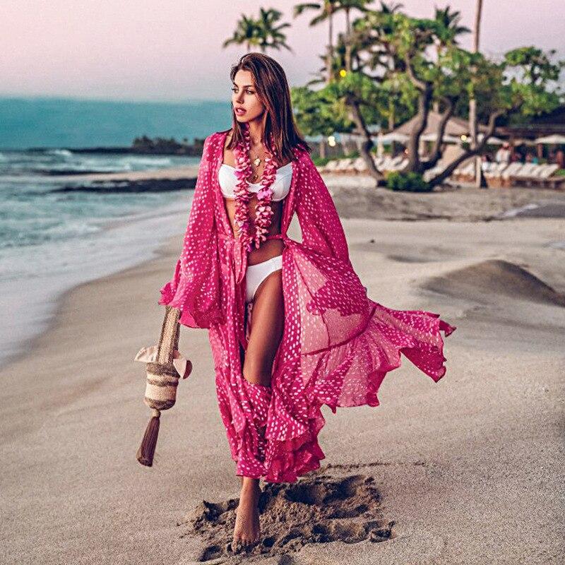 시폰 비치 커버 드레스 로브 드 플라 주 수영복 커버 업 Pareos de Playa Mujer 비키니 커버 비치웨어 튜닉
